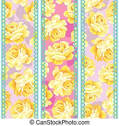 Shabby chic rose pattern - Shabby chic seamless pattern with...