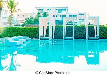 Swimming pool - Beautiful luxury hotel swimming pool with...