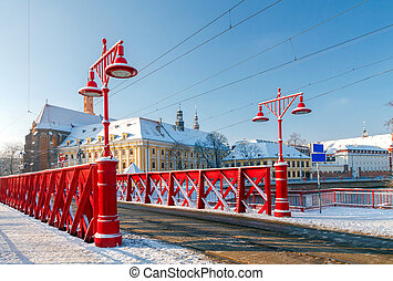 Wroclaw Sandy Bridge - Sandy bridge over the river Odra in...