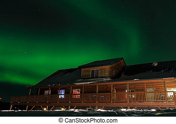 wooden house, Aurora, night sky at alaska, fairbanks