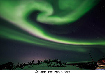 Aurora, night sky at alaska, fairbanks