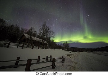 House, Aurora, night sky at alaska, fairbanks - Aurora,...