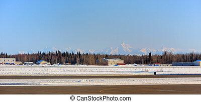 White mountain near Fairbanks international airport, sunset...