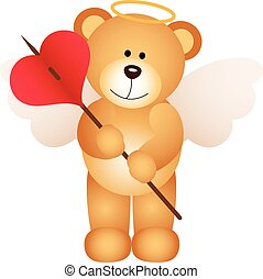 Cupid teddy bear with heart - Scalable vectorial image...