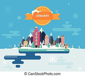 Winter landscape. Small town. Set of urban buildings....
