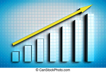 growing graph - growing blue graph with yellow arrow on blue...