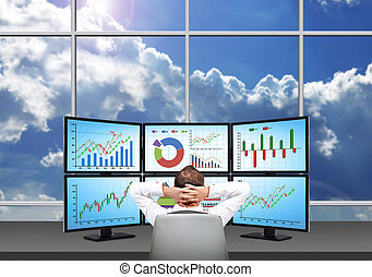 Relaxing businessman - relaxing trader who is sitting in...