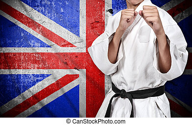 karate fighter and united kingdom flag - karate fighter in...