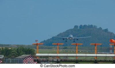 Airbus 330 approaching and landing in Phuket International...