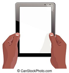 hands of african american holding a tablet touch computer gadget with isolated screen