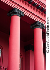 architectural red two columns of building
