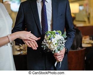 Mazzolino, matrimonio, anelli, mani