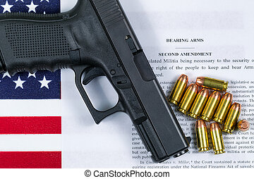 Pistol with flag and American paper for right to bear arms
