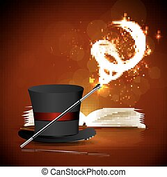 magic book, magic hat and wand - Open magic book, magic hat...