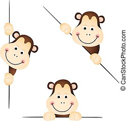 Cute monkey peeking - Scalable vectorial image representing...