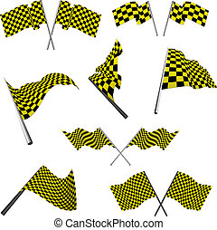 checked racing flags set - Yellow and black checked racing...