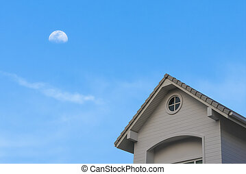 new traditional gable roof house under moon sky - new...