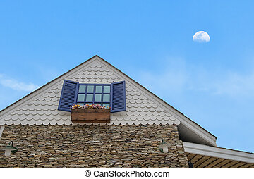 traditional gable house with moon sky - traditional gable...