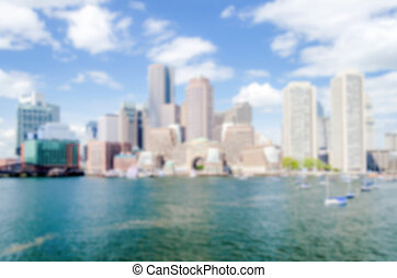 Defocused background of the Boston skyline