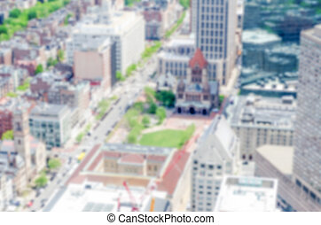 Defocused background with aerial view of Copley Square in...