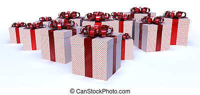 Presents - Lot of presents with dot pattern and a shiny red...
