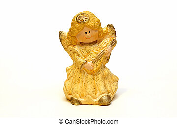 ceramic angel figurine yellow on a white background