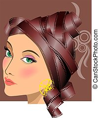 Actress - Illustration of film Actress with colour