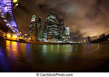 """Russia. The City Of Moscow. The business Center """"Moscow-city"""" at night"""