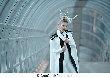 Science fiction fashion. Android girl with bulbs on her head