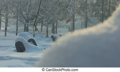 Winter park, Novosibirsk - The city park on a cold winter...
