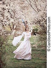 Rapunzel, em, primavera, flor,