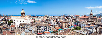 Beautiful view of Palermo from San nicolo Tower, Sicily -...