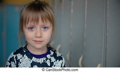 Face little asian girl have beautiful eyes