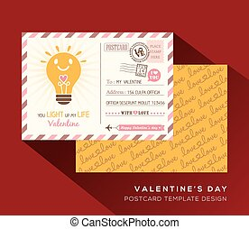 Valentine postcard Invitation design Template Vector