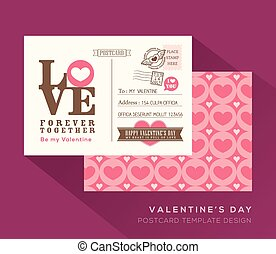 Cute Valentine postcard card design Vector Template