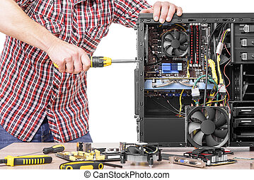 Technician repair assembles computer Isolated on a white...