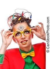 Girl geek. Computer technician. Glasses. - Girl geek...