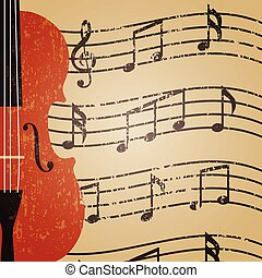violin - grunge violin with key note, retro background
