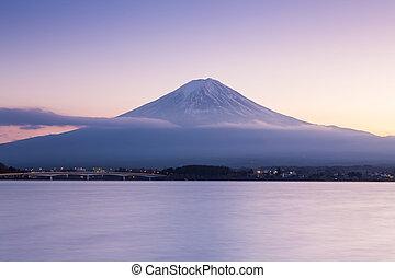 After sunset of Fuji mountain on Kawaguchi Lake, Japan