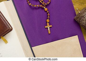 Canonical crucifix on the purple fabric - Canonical crucifix...