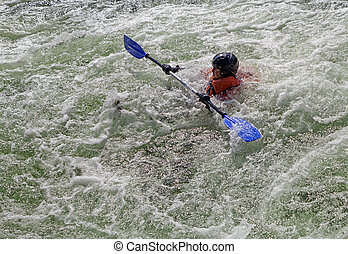 Kayaker in whitewater - Kayaker lost his kayak in the...