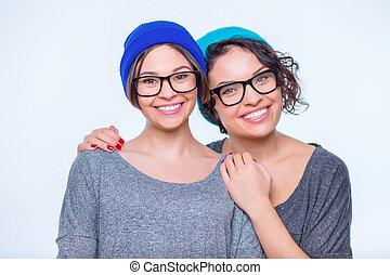 hermanas, juntos, Abrazar,  happy-looking