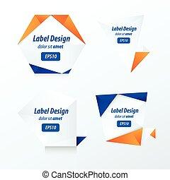 Set Of Label Vector Design blue and orange