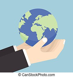 Businessman hands holding the world