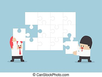 Businessman help each other to assemble blank jigsaw,...