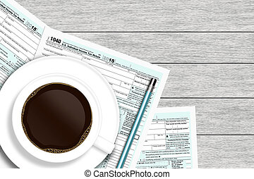 1040 tax form with coffee lying on wooden desk with place...