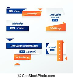 Label Collection of Sale Discount blue and orange
