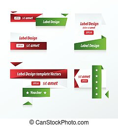 Label Collection of Sale Discount red, green color