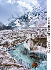 Stream flows down the glacier mountains in background....