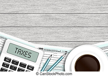 1040 tax form with calculator and coffee lying on wooden...